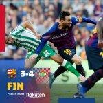⏰ C'est fini au Camp NouFC Barcelone 3-4 Real Betis⚽ Messi (2) et Arturo Vidal / Júnior, Joaquín Lo Celso et Canales#BarçaBetis