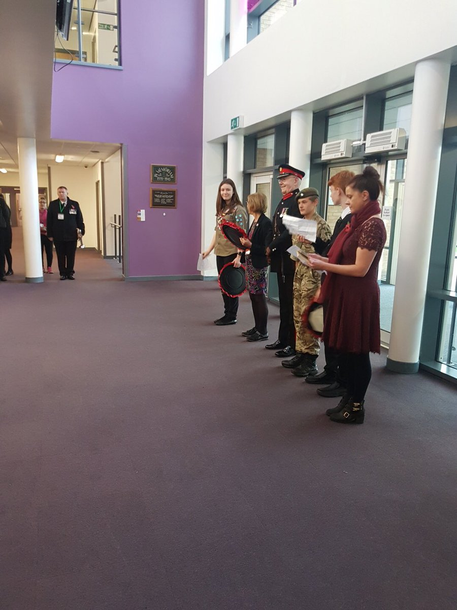 Staff and students paying tribute as part of the centenary of the Armistice.