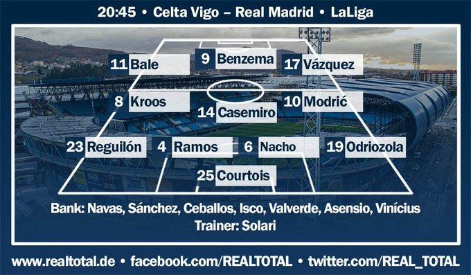 STARTELF! So beginnen die Blancos: Courtois – Odriozola, Nacho, Ramos, Reguilón – Modric, Casemiro, Kroos – Vázquez, Benzema, Bale. Celta 🆚 Real Madrid LIVE 👉 🏆 Foto
