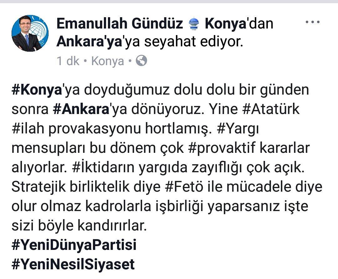 #Konya'ya doyduğumuz dolu dolu bir günden sonra #Ankara'ya dönüyoruz. Yine #Atatürk #ilah provakasyonu hortlamış. #Yargı mensupları bu dönem çok #provaktif kararlar alıyorlar. #İktidarın yargıda zayıflığı çok açık.Stratejik birliktelik diye #Fetö ile mücadele diye olur olmaz...⬇️