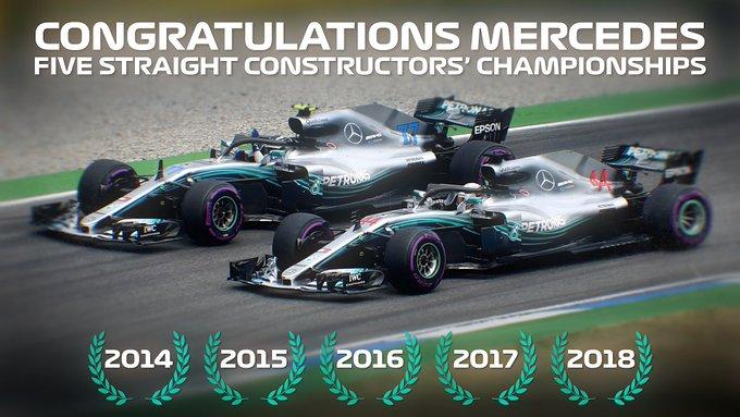 FIVE-IN-A-ROW. 💪 Congratulations, @MercedesAMGF1! #BrazilGP 🇧🇷 #F1 Photo