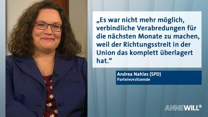 SPD-Chefin Andrea Nahles bei #AnneWill über die Zusammenarbeit in der #GroKo: Foto