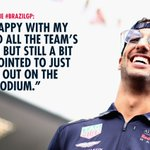 """""""With the pace we had today I really have some optimism going to Abu Dhabi."""" @danielricciardo on the #BrazilGP 🇧🇷👉 https://t.co/lSu0ddB2E6 #F1"""