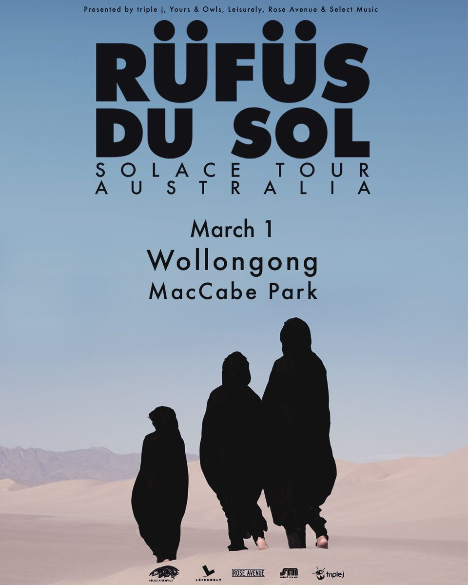 New Show Announce ●● We're coming back to Wollongong on March 1, playing under the stars at MacCabe park. On sale Friday 9AM. Register now for pre-sale access: arep.co/p/rufus-wol2019