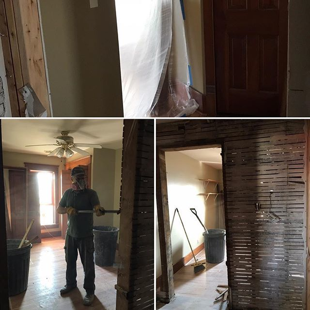 """This project has been on the """"Honey Do"""" list for 20 years - Jon's in charge of demo, & I'm in charge of clean up. Then Jon's in charge of construction , & I'm in charge of staging. #marrytalent #wewereraisingafamily #masterbathroom #farmhouselife #gratef… http://bit.ly/2OGinaN"""