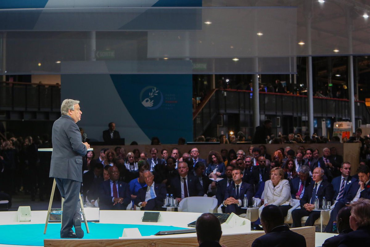 The horror of the great global conflicts cannot be forgotten...But horror must never prevail over hope. @antonioguterres at Sundays #ParisPeaceForum: bit.ly/2AXF8TF #Armistice100