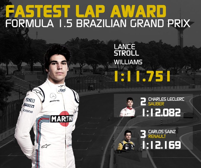 (Credit to ax333l) Fastest lap award of the 2018 Formula #BrazilGP goes to @lance_stroll Photo