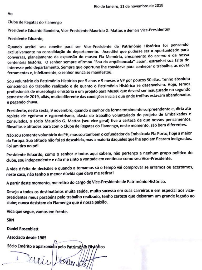02f02f8a1 ... entregou o cargo neste domingo. O motivo foi a forma como Eduardo  Bandeira afastou o vice geral Maurício Gomes de Mattos do projeto  Embaixadas, ...