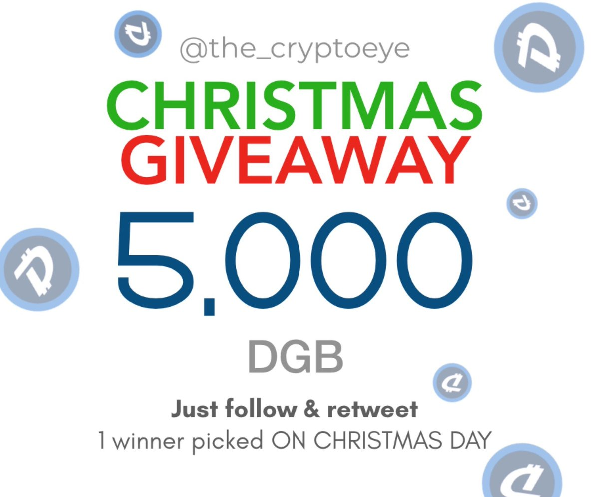 My friends over at @the_cryptoeye doing a X&#39;mas 5,000 $DGB giveaway!  To enter: 1. Follow @the_cryptoeye 2. Retweet this!  1 winner wins it all on Christmas Day (25th Dec 2018)! Good luck!   $DGB #DigiByte <br>http://pic.twitter.com/4MDVgBLw9z