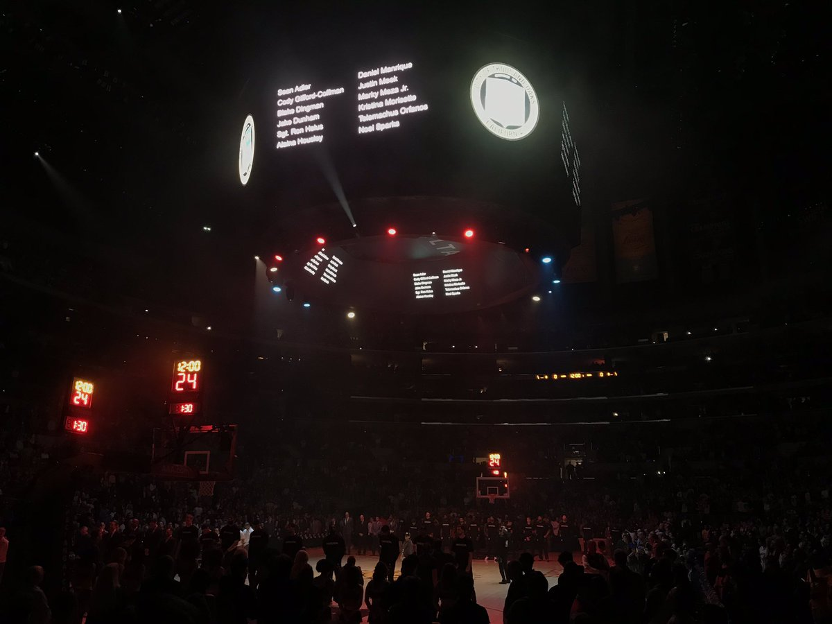 #Lakers PA reads the name of each victim of the #ThousandOaks shooting