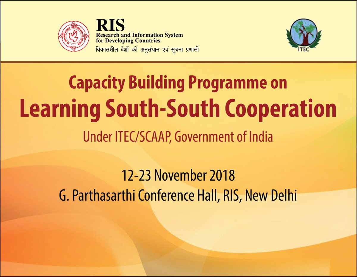 #ITEC Capacity Building Programme on Learning South-South Cooperation 2018 #SSC. Two week programme starting from today @RIS_NewDelhi with 31 participants from 21 countries @ITECnetwork @MEAIndia @alokdimri @Sachin_Chat @NeST_SSC @FIDC_NewDelhi