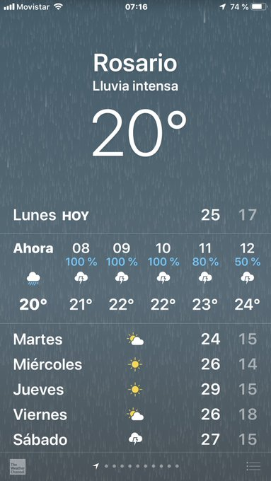 La tormenta llegó anoche y hoy se queda a vivir en Rosario, que no decaiga chiques, #BuenLunes Foto