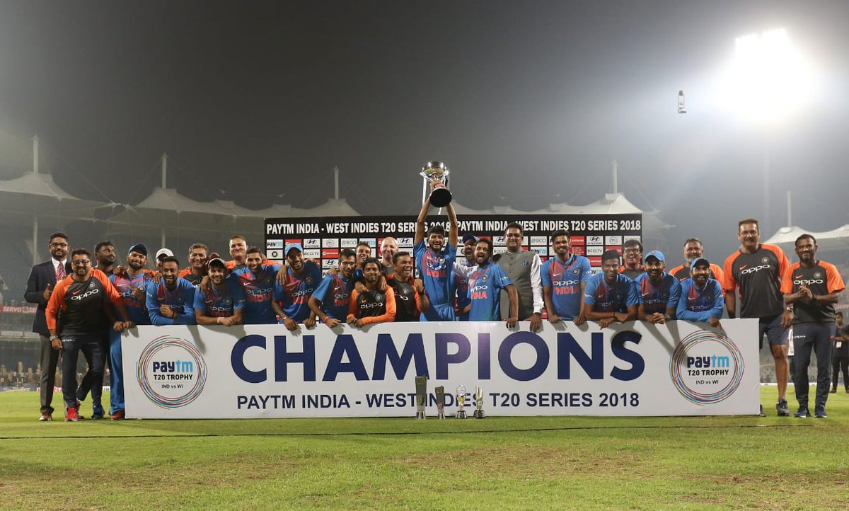 Great show by the boys to claim another series. 💪 Big congratulations to all the boys, the support staff and everyone part of the unit! 😇😊 #IndvWI @BCCI