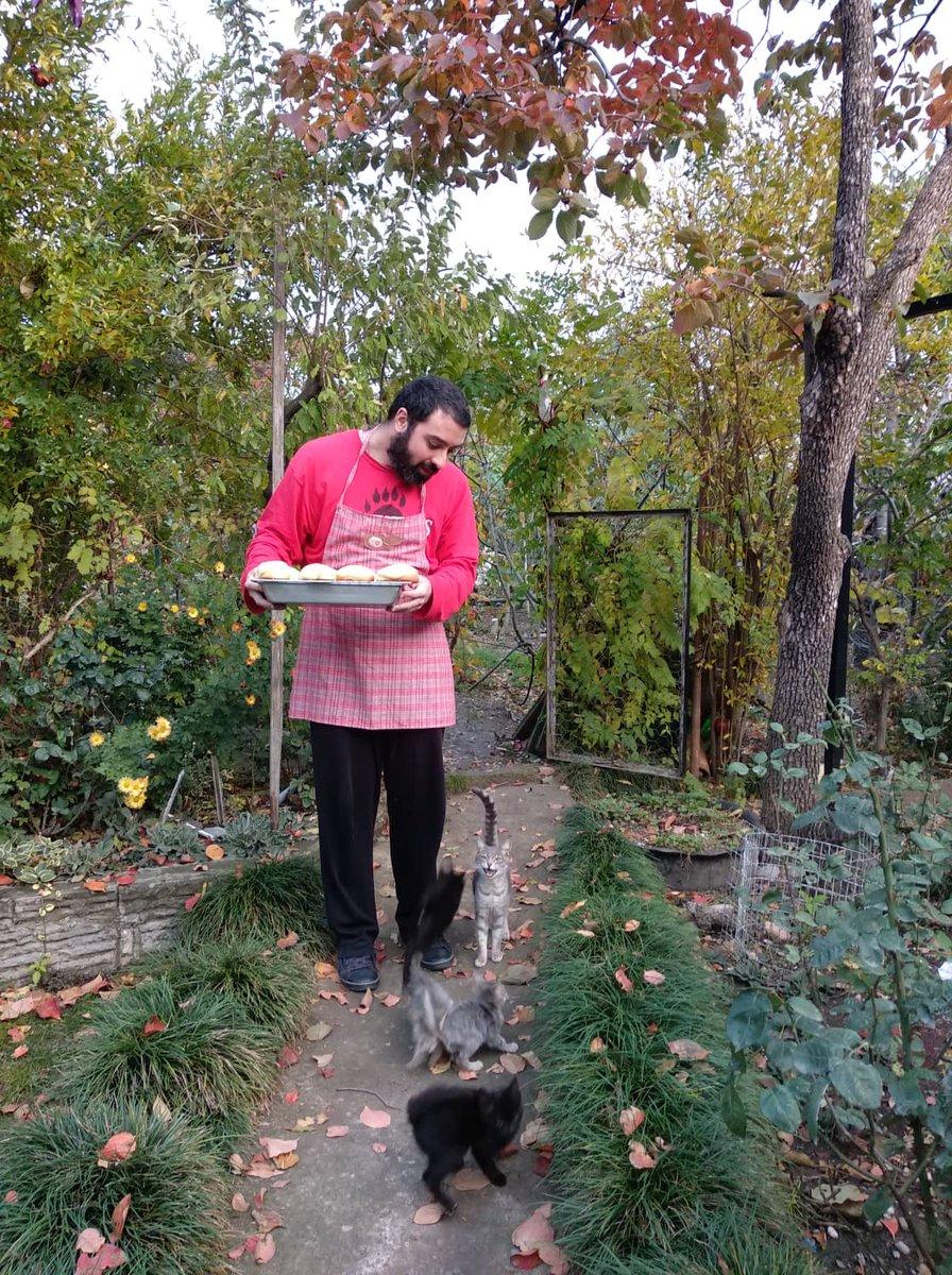 この前にメロンパン作った時、写真をとる為に外に出ました。近所の子猫たちは遊びたかったそうですごく騒いでいました??