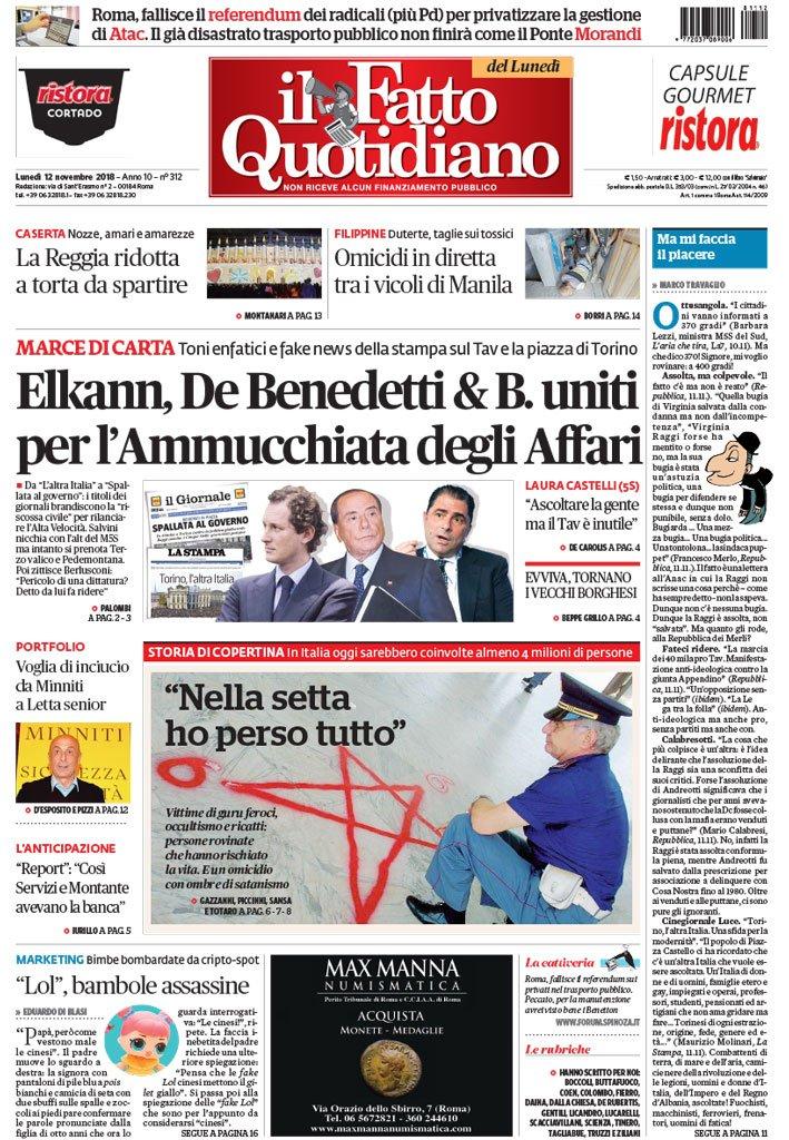 Il Fatto Quotidiano On Twitter La Prima Pagina Di Oggi Elkann De