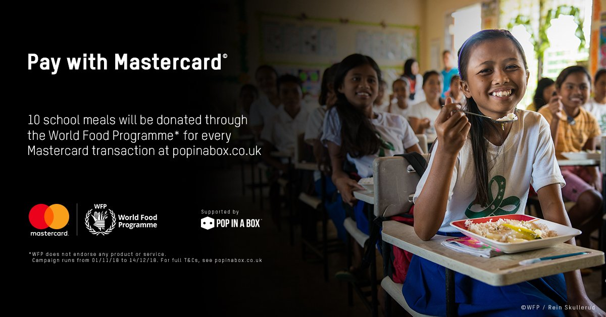 We've teamed up with Mastercard to donate school meals to the World Food Programme to help support some of the world's neediest children!  Find out how you're helping when you pay with Mastercard on Pop In A Box: https://bit.ly/2OEQnE8    @WFP_UK @MastercardUK
