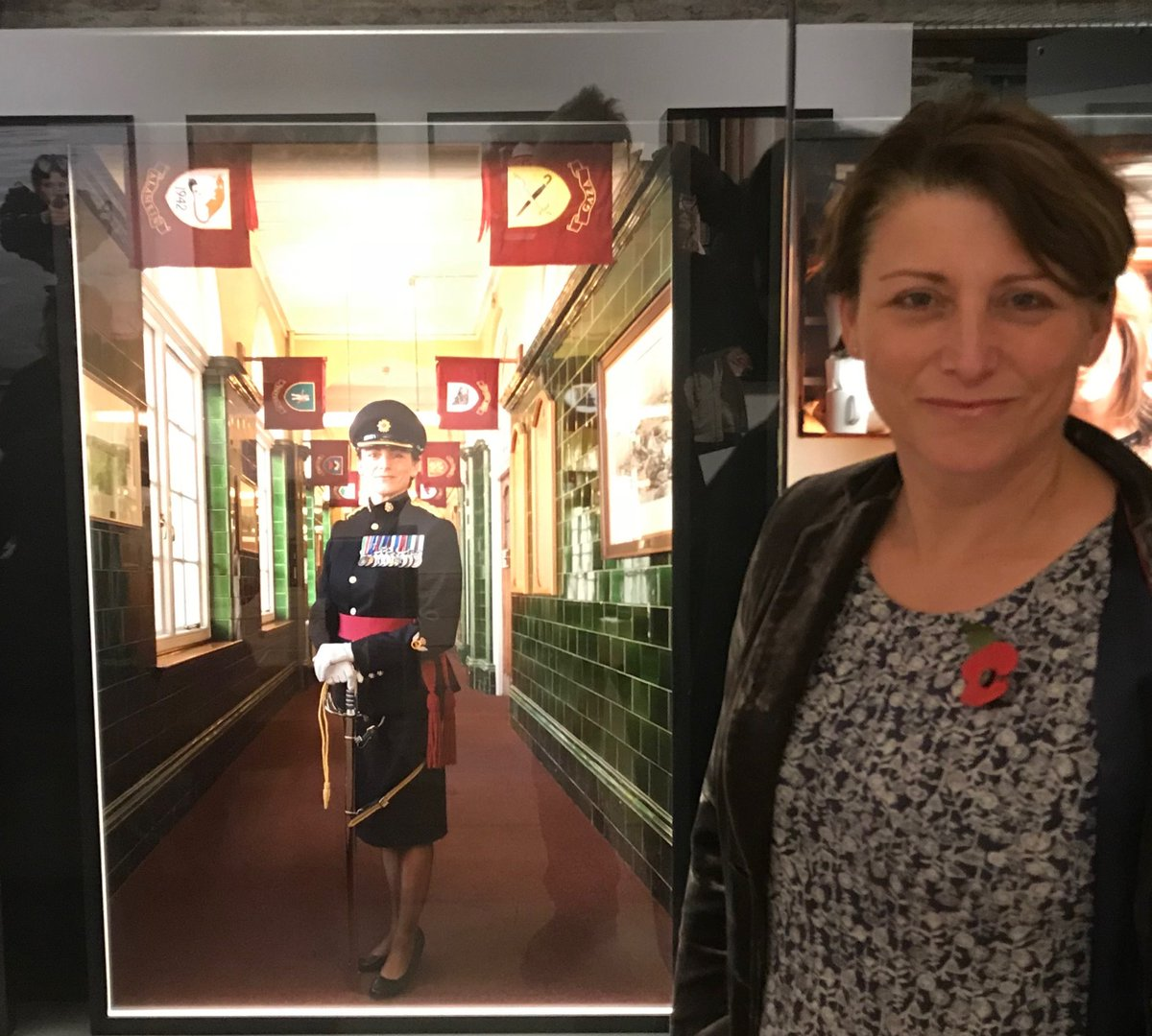 In 2015 Lieutenant Colonel Lucy Giles RLC was the first ever woman in British History to be made New College Commander at the Royal Military Academy Sandhurst @RMASandhurst Heres Lucy with her #portrait at the First Women #exhibition @foxtalbotmuseum @LacockNT #MondayMotivation