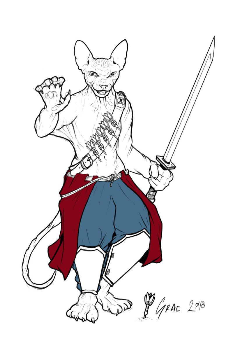 Graemation On Twitter I Ve Gone With The Tabaxi Monk And Have Opted For A Hairless Cat To Match Justify The 8 Charisma Looks amazing, and great name and backstory! ve gone with the tabaxi monk