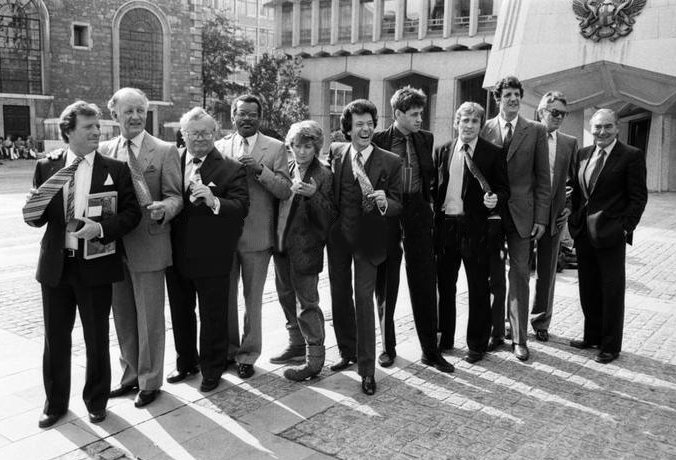 Another all winners Tie Man of the Year Competition.  Johnny Briggs, Frank Bough, Sir Harry Secombe, Trevor McDonald, Victoria Wood, Bob Geldof, Steve Smith, Chris Searle, Ronnie Allen and Sir Peter Parker <br>http://pic.twitter.com/ds7mN8hWzB