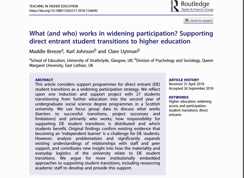 Now online: a critical reflective paper on Direct Entrants & Widening Participation in #HigherEducation @QMUniversity, co-authored w/@maddie_breeze & @ClareUytman.  https://www.tandfonline.com/doi/full/10.1080/13562517.2018.1536042…