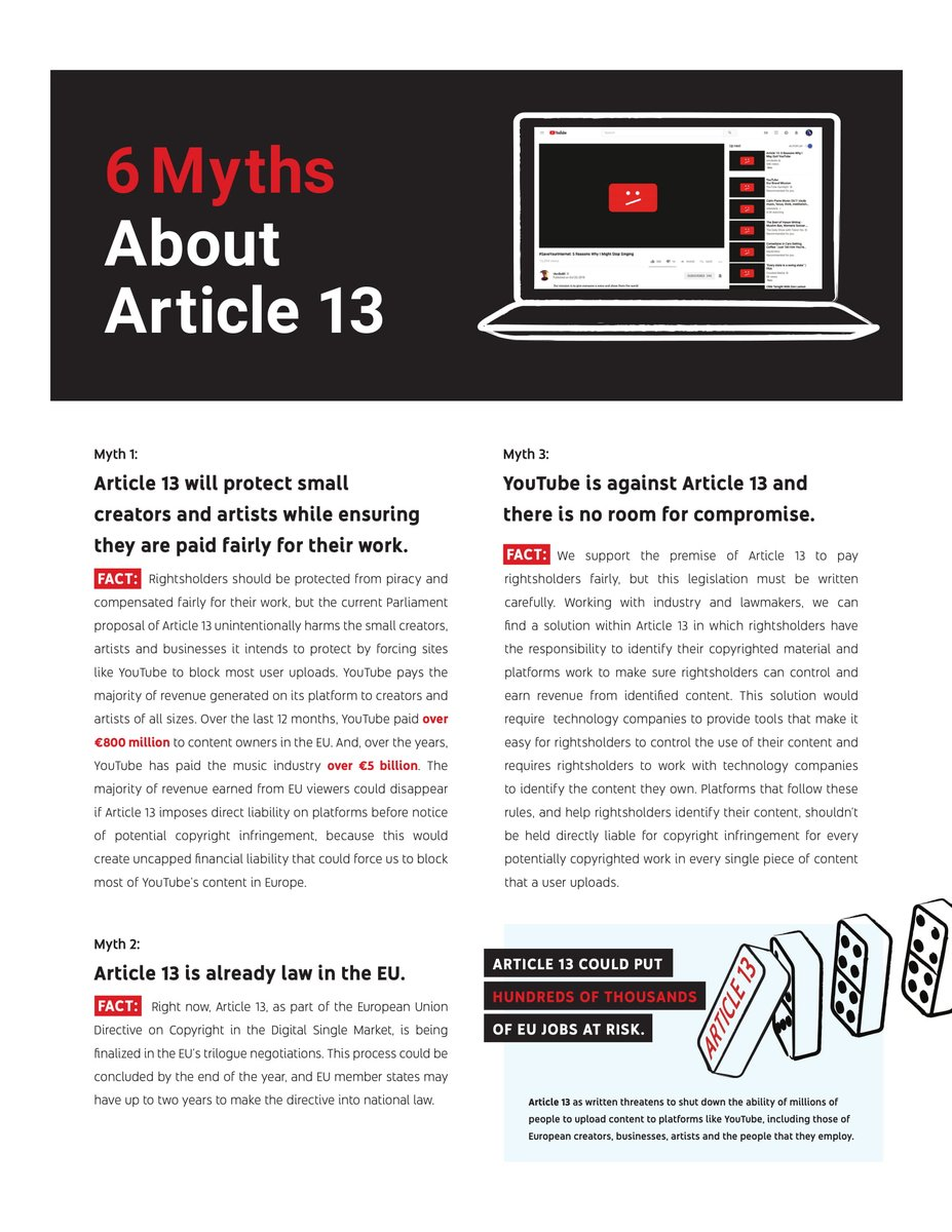 6 myths about Article 13 and why they are false. #SaveYourInternet