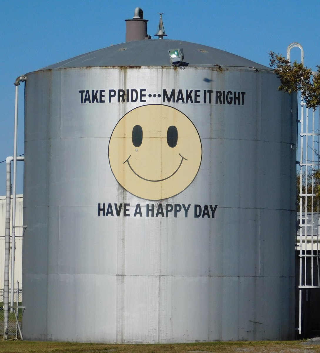 Good advice for a Monday, courtesy of a water tank at the @REOLogistics Solutions Place facility in @WaynesboroCity, VA. Have a happy day! #MondayMotivation