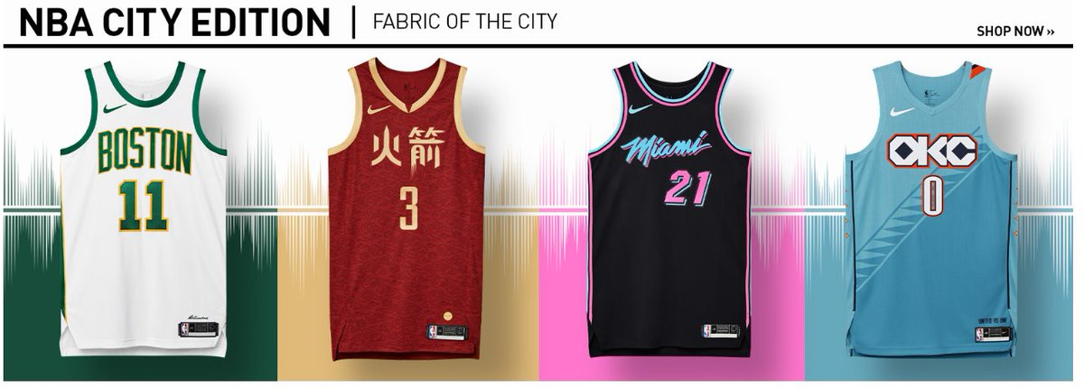 Inspired by the culture-shaping artists and visionaries who define the fabric of a community, Nike NBA City Edition Jerseys tell the stories of the passionate fanbases that have their team's back. City Edition jerseys for all 30 teams available on.nba.com/2T1B7oi