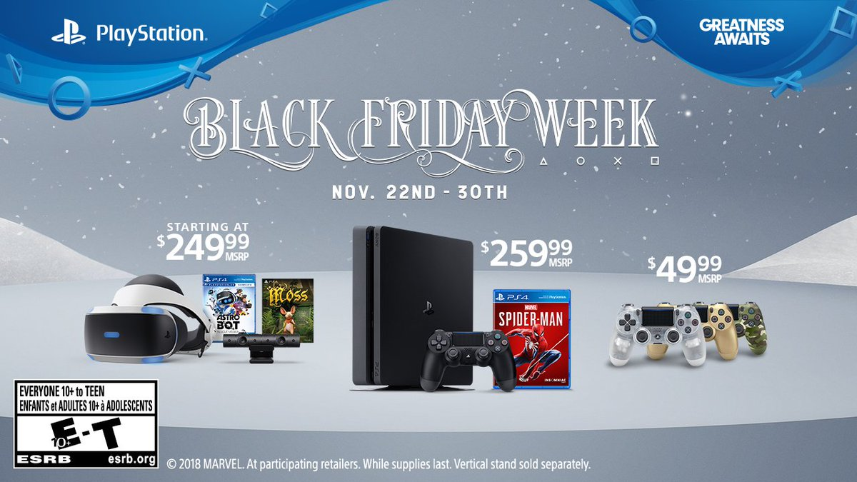 ec770ba4adf2 This Black Friday week get amazing PS VR savings or snag a 1TB PS4 with a  copy of Marvel s Spider-Man for  259.99CAN. More details   https   bit.ly 2DDCxB0 ...