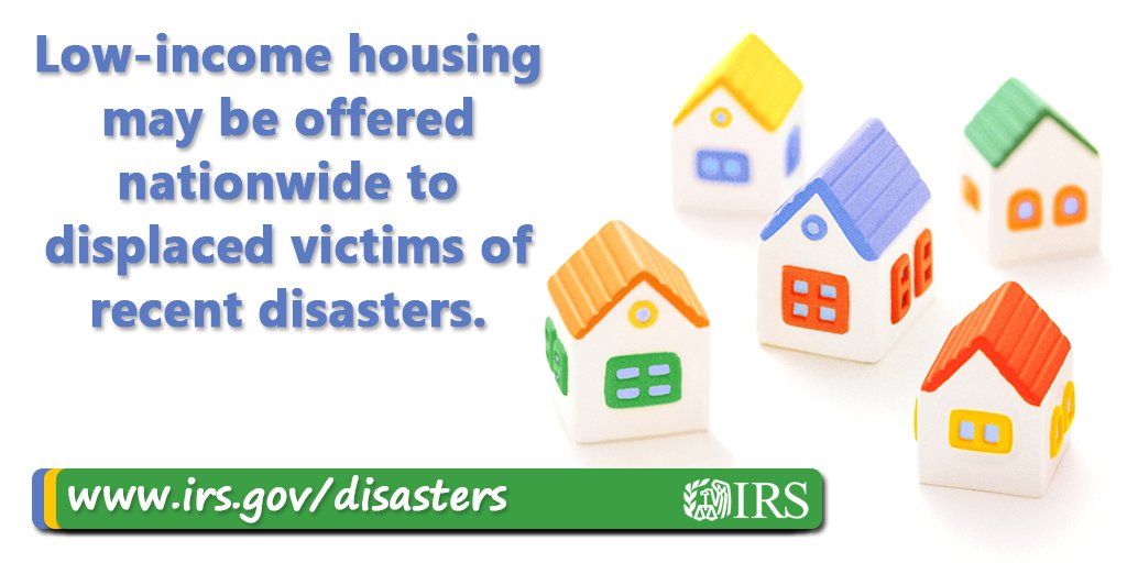 Low-income housing units nationwide may be offered to displaced victims of Hurricanes Michael and Florence https://t.co/4vOKBMkwVV #IRS