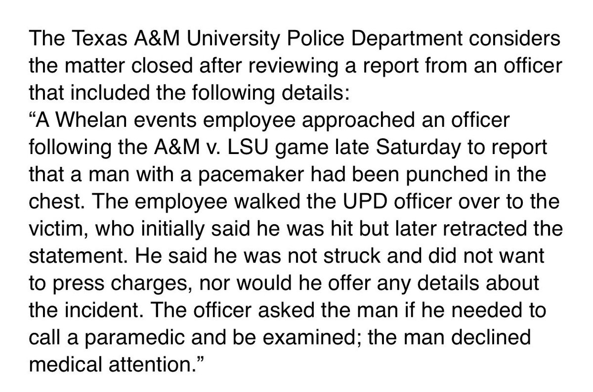 From A&M official who said Steve Kragthorpe first told police he was hit, but then retracted the statement and said he had not been hit and did not want to press charges: https://t.co/ft6IBkeZ6k