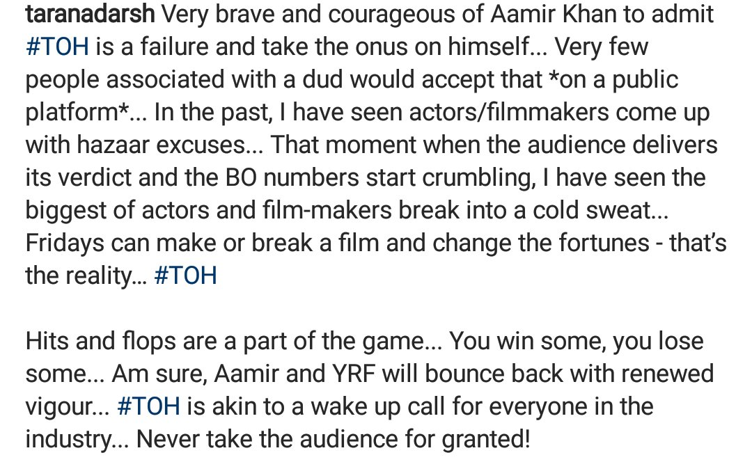 This is really brave @aamir_khan! How many of us actually do this? When have u done like this when u failed last time? This defines u alongwith your success! 🙌🏽