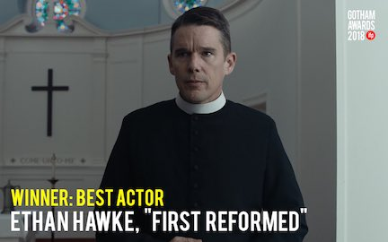 Congratulations to the winner of the Best Actor Award! #GothamAwards