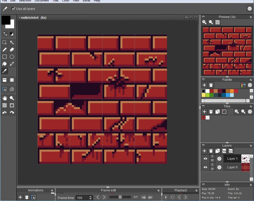 "16X16 Tileset maxwell vador on twitter: ""4x4 worn red brick tileset. tiles"