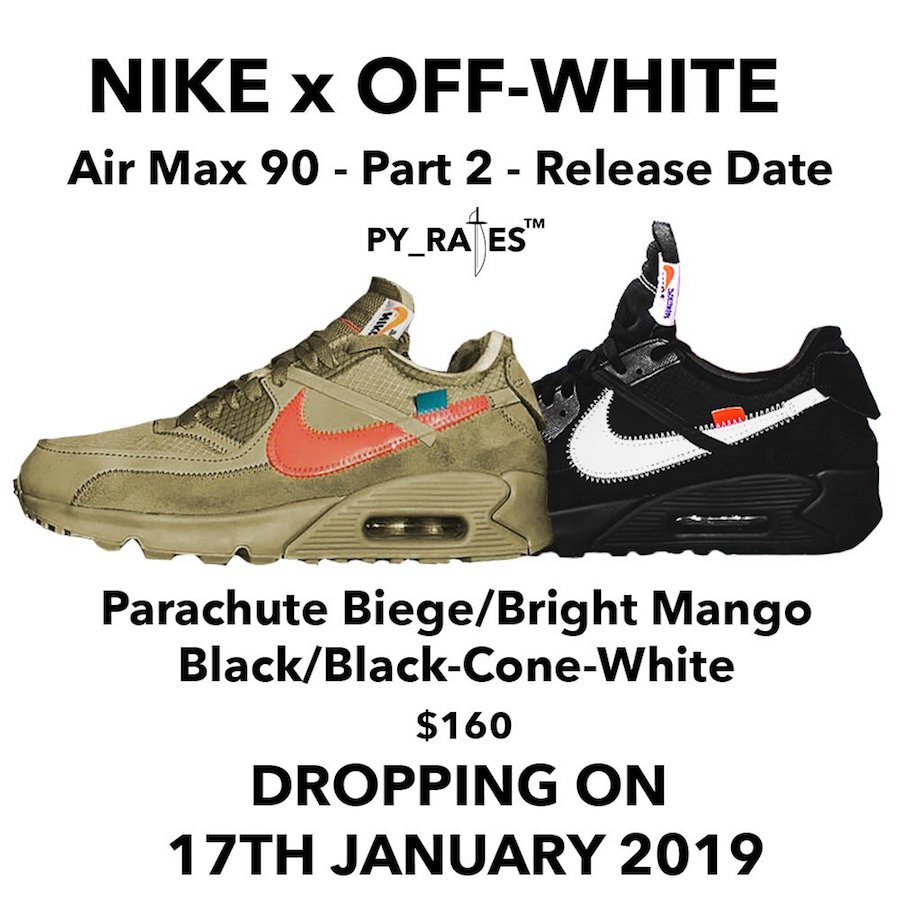 Nike x Off White Air Max 90 'Desert Ore' and 'Black' in 2019
