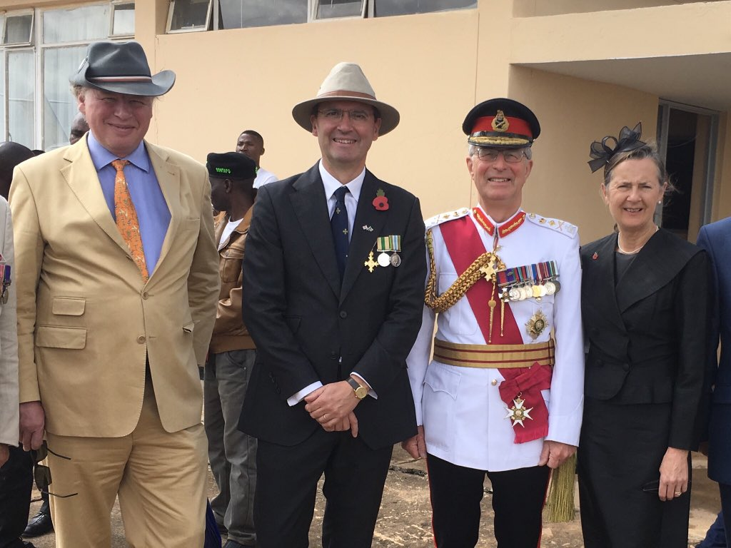 Lord & Lady Richards arrive at Mbala #Zambia with grandson of General von Lettow-Vorbeck who commanded the German force that surrendered here 100 years ago today. #Armistice100