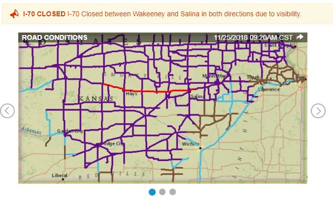 Good portion of I-70 in #Kansas now closed due to #wind and #snow. #blizzard #WinterStormBruce #kswx