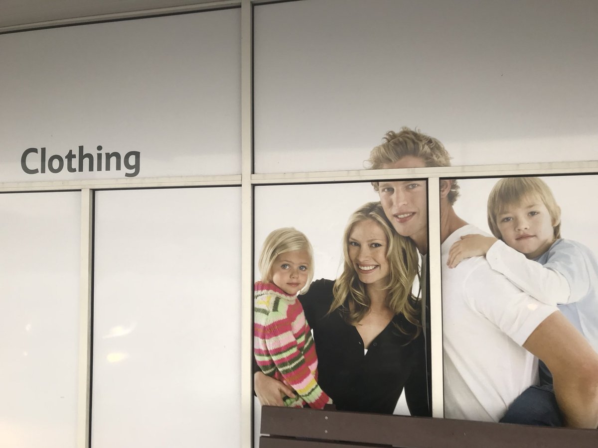 """Tesco Management Team: """"In the multi-cultural, diverse society that is modern Britain, it's great to see @Tesco #Dundee communicating a more inclusive... SHIT THE BED! WHO SIGNED OFF THE BLONDE SCANDINAVIAN FAMILY FOR THE CLOTHING GRAPHIC YOU DOLTS?!!"""""""