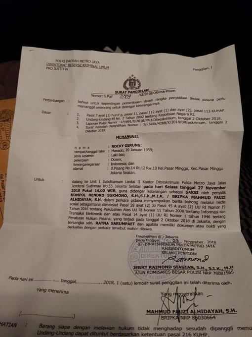 Beredar Surat Polisi Panggil Rocky Gerung