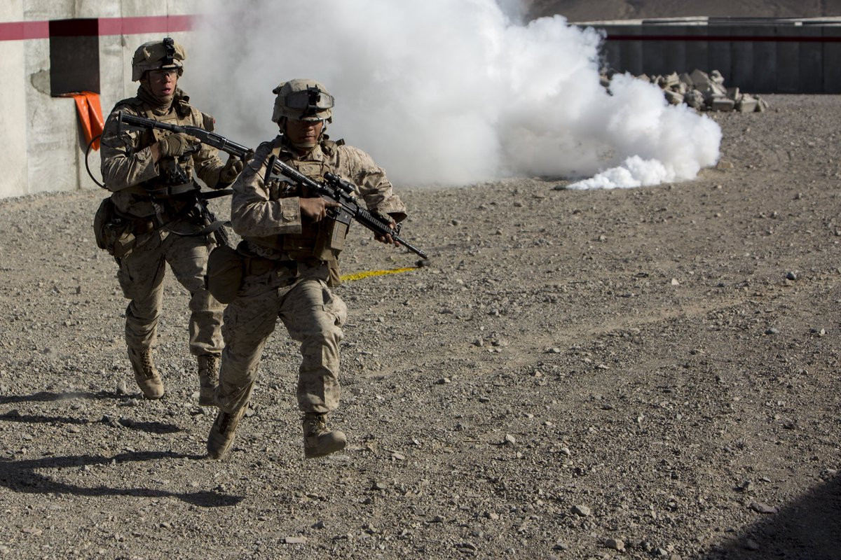 Concealment is Key  U.S. Marines with #2ndmarinedivision advance through the concealment of a smoke grenade.  ITX allows units to bolster their combat capabilities in a desert environment in preparation for potential global contingencies.  #usmc #training #fightingforce #oorah