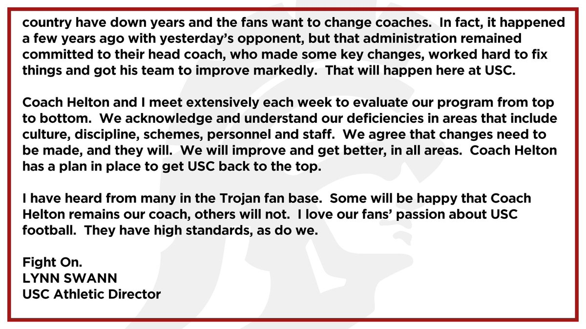 Usc Trojans On Twitter Clay Helton Is Our Head Coach And He Will