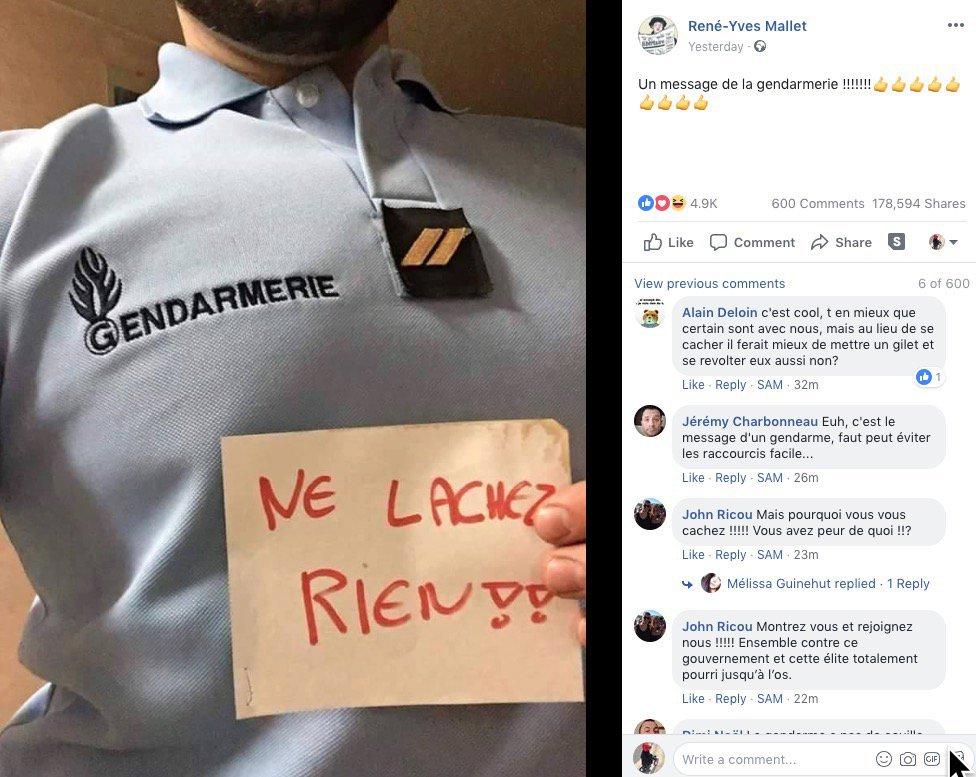 🇫🇷 Cette photo publiée hier sur Facebook et partagée près de 180.000 fois laisse entendre qu'un gendarme - anonyme - a publié un message de soutien aux #GiletsJaunes Problème : on retrouve trace de cette photo sur au moins deux pages web datées d'octobre 2016 (AFP Factuel)