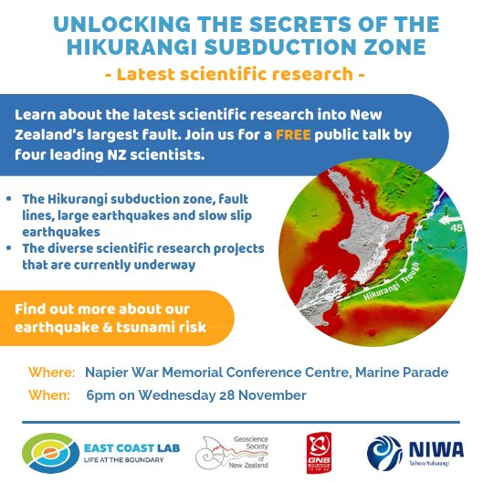 Don't forget to come along to our free public talk in Napier on Wednesday to unlock the secrets of the Hikurangi subduction zone