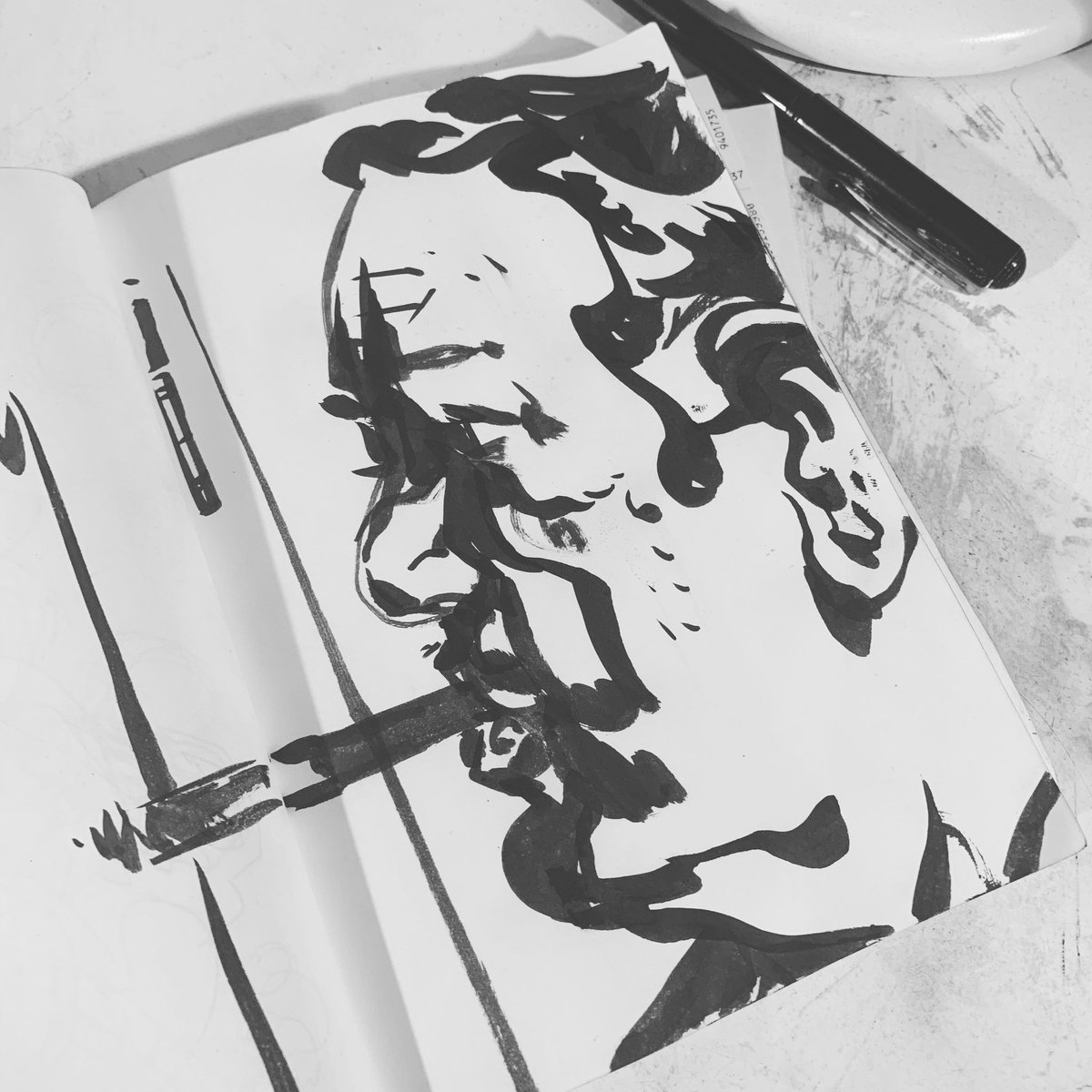 Touch of Evil // #testtest #ink #warmup #sketch #movie #draw #drawing #pentelpocketbrush #chrisvisions<br>http://pic.twitter.com/klh9mkEUDl