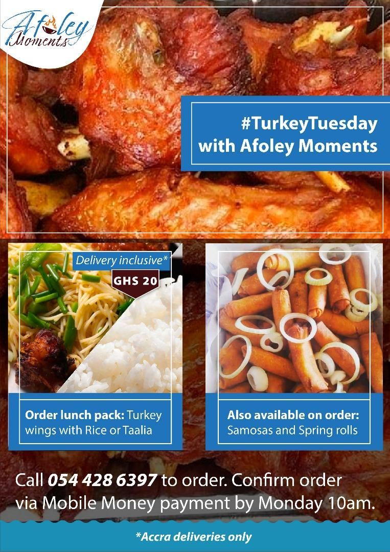 Good morning.... @AfoleyMoments taking orders till 5pm today...   Lunch menu for tomorrow is  Rice/taalia with turkey. 20gh per pack. Delivery  inclusive *  Kindly dm or call 0544286397 to order.  #afoleymoments #TurkeyTuesday<br>http://pic.twitter.com/iHu5rUGBEd