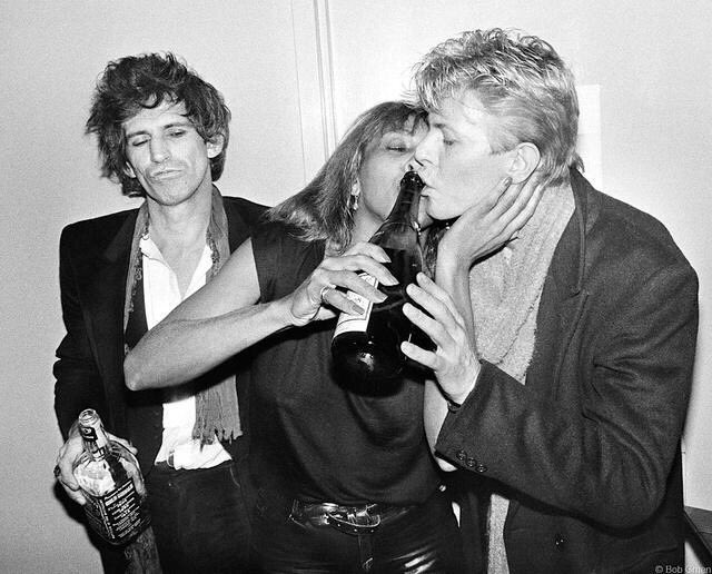 Happy birthday Tina! Keith Richards, Tina Turner, and David Bowie in 1983