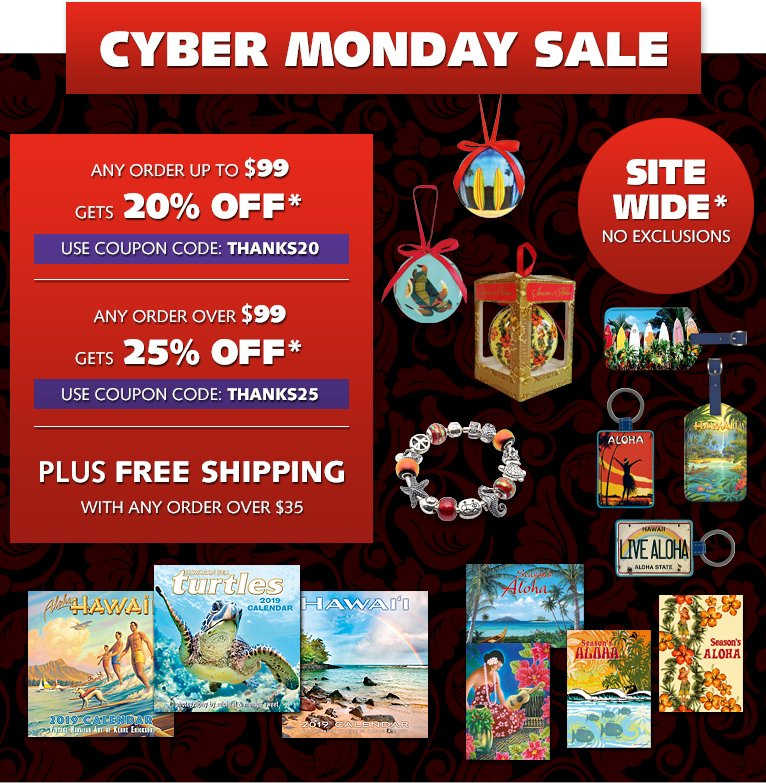 5c6ad76c8845 Cyber Monday Sale - Up to 25% OFF Site Wide plus FREE Shipping*! Happy  Holidays! See Details: ...