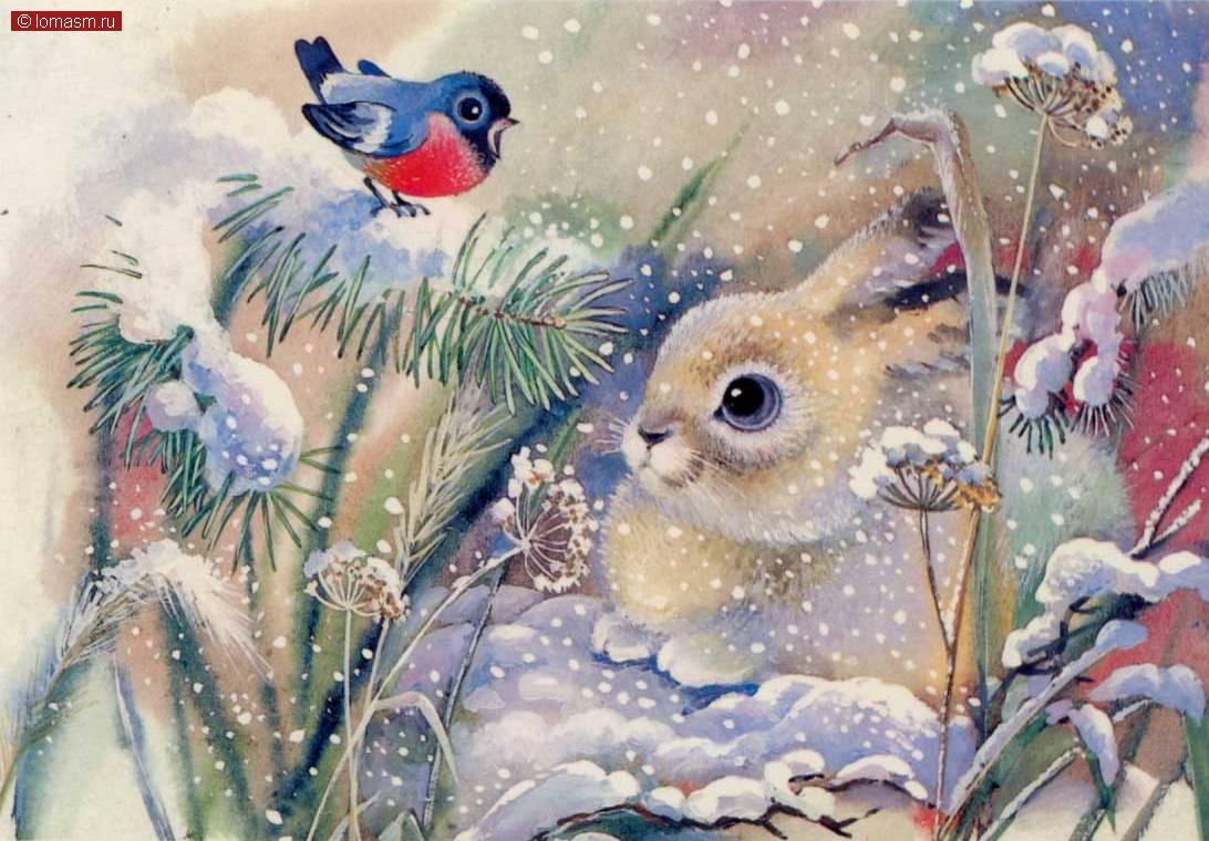 Открытка про зиму красивая, картинки