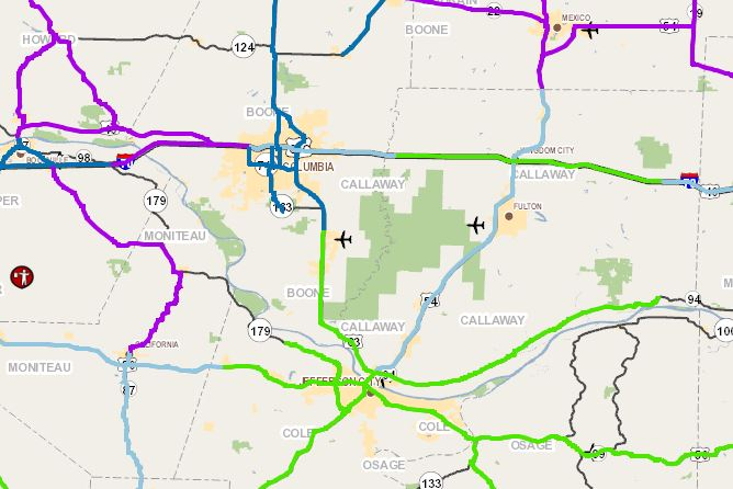 Missouri Road Conditions Map on