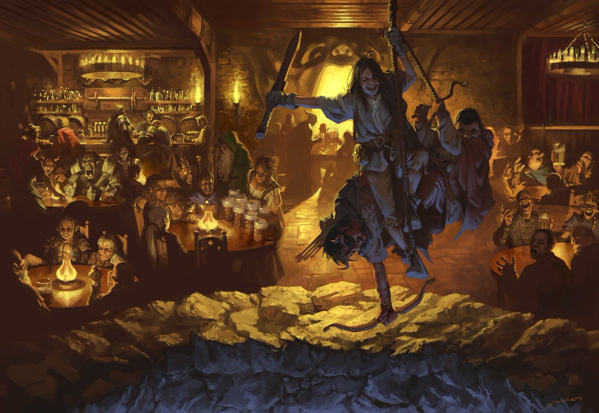 "Sidharth Chaturvedi on Twitter: ""D&D: Yawning Portal Tavern. From 'Dungeon  of the Mad Mage.' AD: Kate Irwin. This was SO MUCH FUN to paint. Also one  of the few that I didn't"