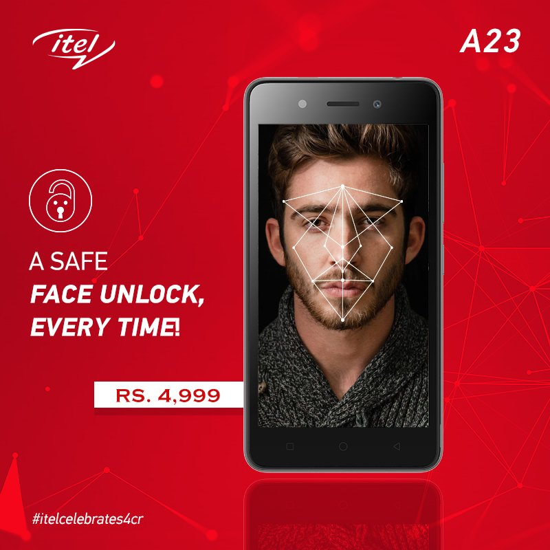 Unlock your phone with just one look, through itel A23's face unlock feature. A smartphone priced at just Rs.4,999. #itelcelebrates4cr